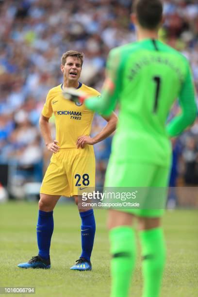 Cesar Azpilicueta of Chelsea talks to Chelsea goalkeeper Kepa Arrizabalaga during the Premier League match between Huddersfield Town and Chelsea at...