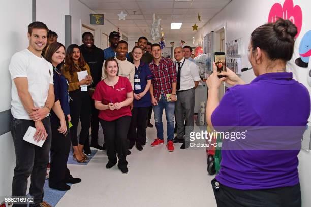 Cesar Azpilicueta of Chelsea Tiemoue Bakayoko Charly Musonda Jr Eden Hazard Jake ClarkeSalter Antonio Rudiger of Chelsea at the Hospital on December...