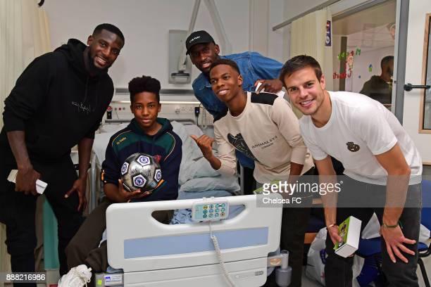 Cesar Azpilicueta of Chelsea Tiemoue Bakayoko Charly Musonda Jr Antonio Rudiger of Chelsea at the Hospital on December 7 2017 in London England