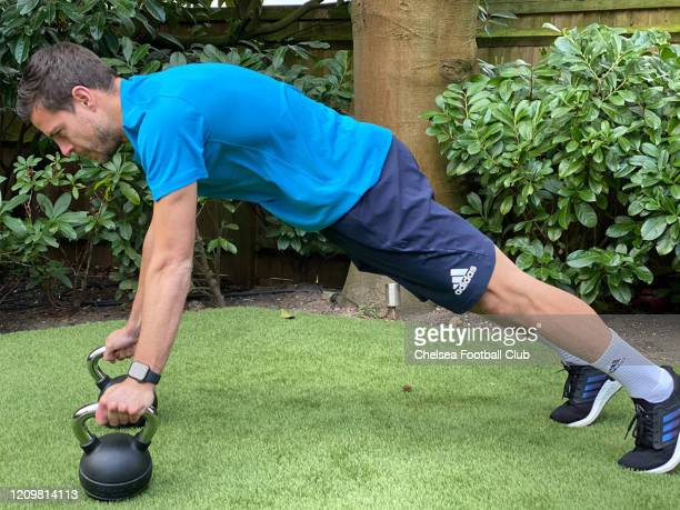 Cesar Azpilicueta of Chelsea trying to keep fit at home on April 9 2020 in London England