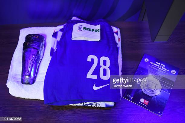 Cesar Azpilicueta of Chelsea's kit is seen inside the Chelsea dressing room prior to the FA Community Shield between Manchester City and Chelsea at...