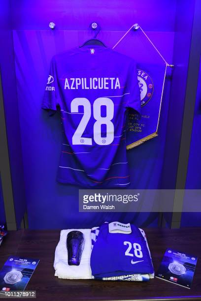 Cesar Azpilicueta of Chelsea's shirt is seen inside the Chelsea dressing room prior to the FA Community Shield between Manchester City and Chelsea at...