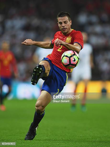 Cesar Azpilicueta of Spain clears the ball during the international friendly match between England and Spain at Wembley Stadium on November 15, 2016...