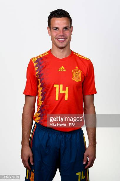 Cesar Azpilicueta of Spain poses for a portrait during the official FIFA World Cup 2018 portrait session at FC Krasnodar Academy on June 8 2018 in...