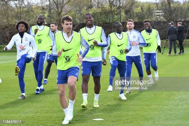 Cesar Azpilicueta Pierre Ekwah Ngolo Kante Jorginho and Callum HudsonOdoi of Chelsea during the afternoon training session at Chelsea Training Ground...