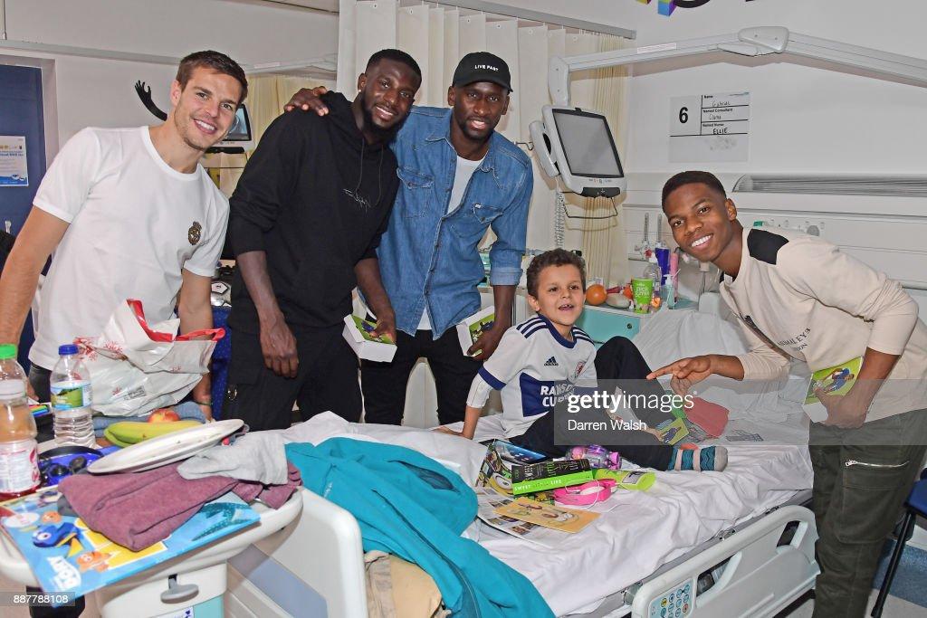 Cesar Azpilicueta, Tiemoue Bakayoko, Charly Musonda Jr, Antonio Rudiger of Chelsea at the Chelsea and Westminster Hospital on December 7, 2017 in London, England.