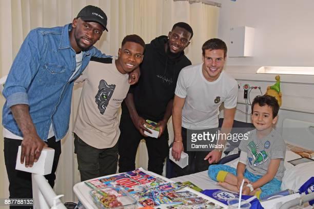 Cesar Azpilicueta Tiemoue Bakayoko Charly Musonda Jr Antonio Rudiger of Chelsea at the Chelsea and Westminster Hospital on December 7 2017 in London...