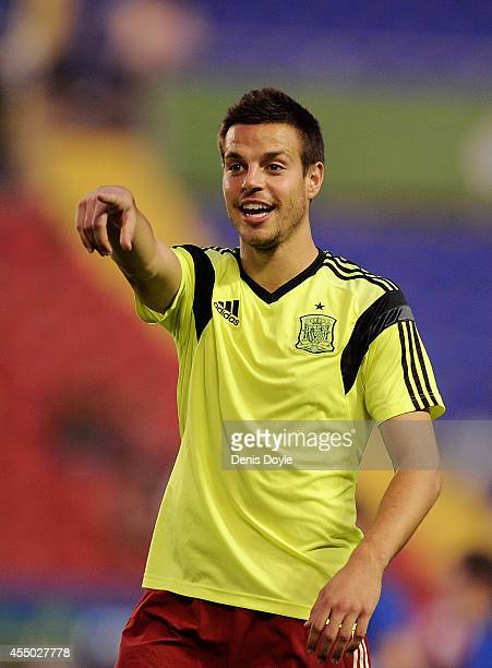 Cesar Azpillicueta of Spain looks on prior to the start of the UEFA EURO 2016 Group C Qualifier between Spain and FYR of Macedonia at Estadio Ciutat...