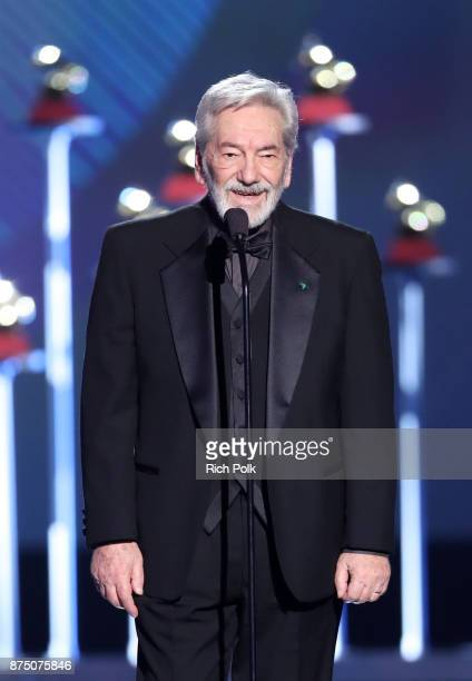 Cesar Camargo Mariano speaks onstage during the Premiere Ceremony during the 18th Annual Latin Grammy Awards at the Mandalay Bay Convention Center on...
