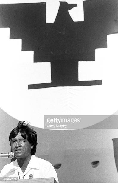 Cesar Chavez cofounder of the United Farm Workers organization addresses a crowd of ten thousand supporters in Salinas CA 1975 The flag of the UFW is...