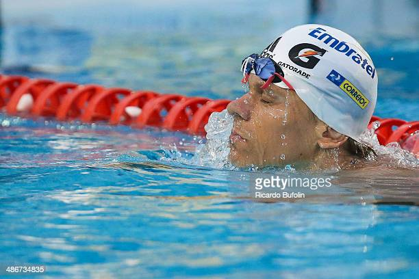Cesar Cielo after his win in the 50m Butterfly Final on day five of the Maria Lenk Swimming Trophy 2014 at Ibirapuera Sports Complex on April 25,...