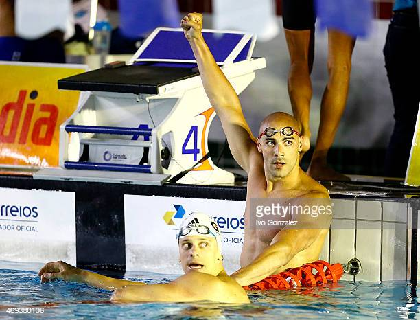 Cesar Cielo and Joao de Lucca after the swimming of the Men's 4x100m medley final on day six of the Maria Lenk Swimming Trophy 2015 at Fluminense...