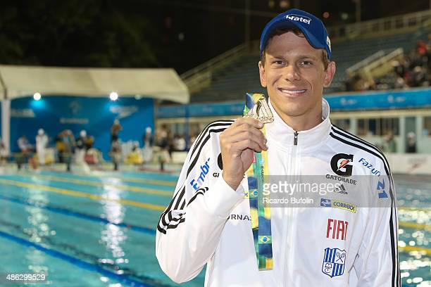 Cesar Cielo celebrates his victory in the 50m Freestyle Final on day three of the Maria Lenk Swimming Trophy 2014 at Ibirapuera Sports Complex on...