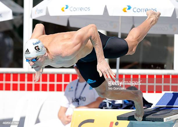Cesar Cielo competes in the Men's 50m freestyle heats on day three of the Maria Lenk Swimming Trophy 2015 at Fluminense Club on April 8, 2015 in Rio...
