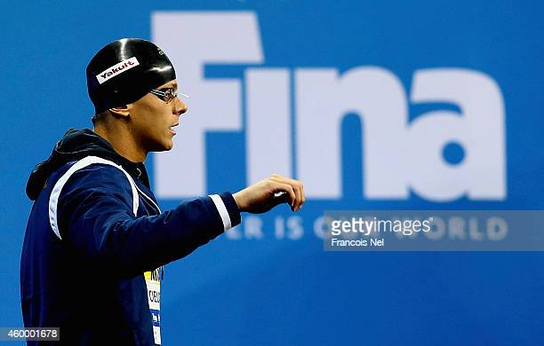 Cesar Cielo of Brazil celebrates looks on prior to the start of the Men's 50m Freestyle Final during day three of the 12th FINA World Swimming...