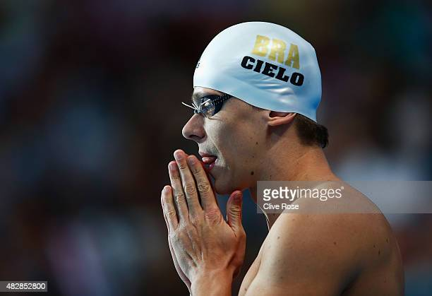 Cesar Cielo of Brazil prepares to compete in the Men's 50m Butterfly Final on day ten of the 16th FINA World Championships at the Kazan Arena on...