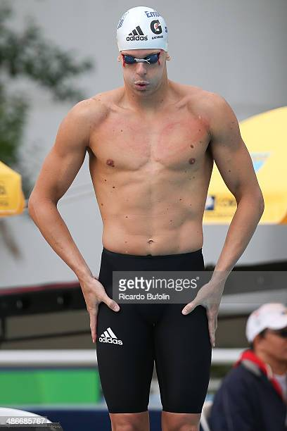 Cesar Cielo prepares for the 50m Butterfly qualifying on day five of the Maria Lenk Swimming Trophy 2014 at Ibirapuera Sports Complex on April 25,...