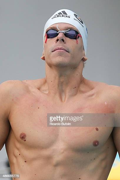 Cesar Cielo prepares for the the 50m Butterfly qualifying on day five of the Maria Lenk Swimming Trophy 2014 at Ibirapuera Sports Complex on April...