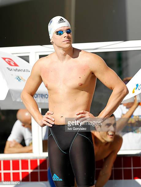 Cesar Cielo prepares to compete in the Men's 100m freestyle heats on day six of the Maria Lenk Swimming Trophy 2015 at Fluminense Club on April 11...