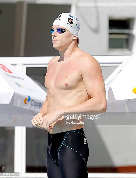 Cesar Cielo prepares to compete in the Men's 50m freestyle heats on day three of the Maria Lenk Swimming Trophy 2015 at Fluminense Club on April 8,...