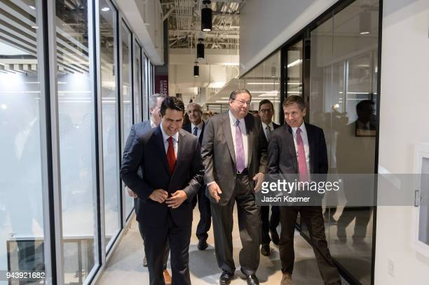 Cesar Conde Carlos Gimenez David Cohen and Steve Burke take a tour during the Grand Opening Press Conference at Telemundo Center on April 9 2018 in...