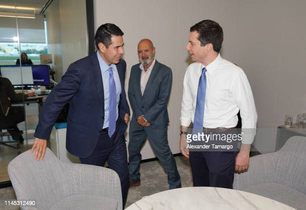 Cesar Conde Luis Fernandez and Democratic Presidential Candidate and South Bend Indiana Mayor Pete Buttigieg are seen at Telemundo Center on May 20...