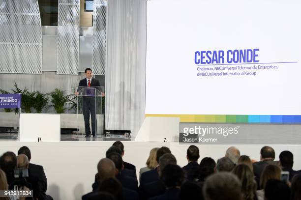 Cesar Conde speaks on stage at the Grand Opening Press Conference at Telemundo Center on April 9 2018 in Miami Florida