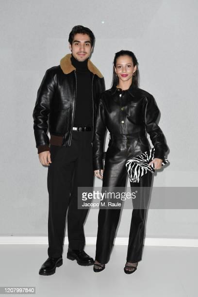 Cesar Corrales and Francesca Hayward attend the Bottega Veneta fashion show during the Milano Fashion Week Fall / Winter 2020 2021 on February 22...