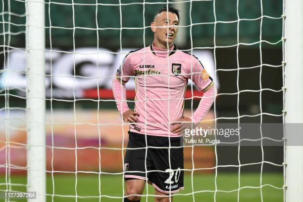 Cesar Falletti of Palermo looks on during the Serie B match between US Citta di Palermo and Foggia at Stadio Renzo Barbera on February 04 2019 in...