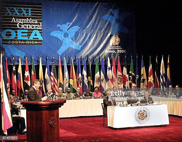 Cesar Gaviria Secretary General of the Organization of American States inaugurates the XXXI General Assembly of the OAS 03 June 2001 in San Jose...