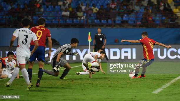 Cesar Gelabert of Spain scores his team's 2nd goal during the FIFA U17 World Cup India 2017 group D match between Spain and Korea DPR at the...