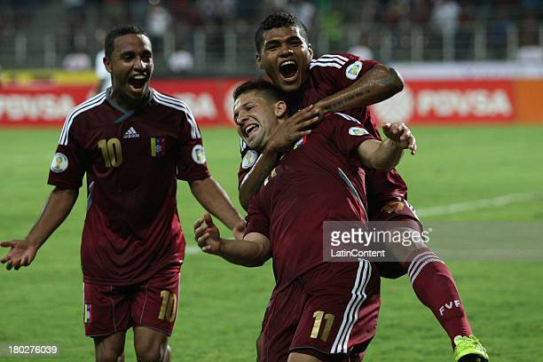 Cesar Gonzalez of Venezuela celebrates during a match between Venezuela and Peru as part of the 16th round of the South American Qualifiers at...
