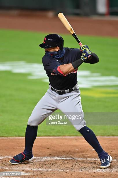 Cesar Hernandez of the Cleveland Indians bats against the Cincinnati Reds at Great American Ball Park on August 3 2020 in Cincinnati Ohio