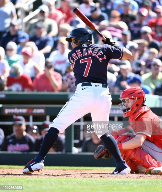 Cesar Hernandez of the Cleveland Indians gets ready in the batters box against the Los Angeles Angels during a spring training game at Goodyear...