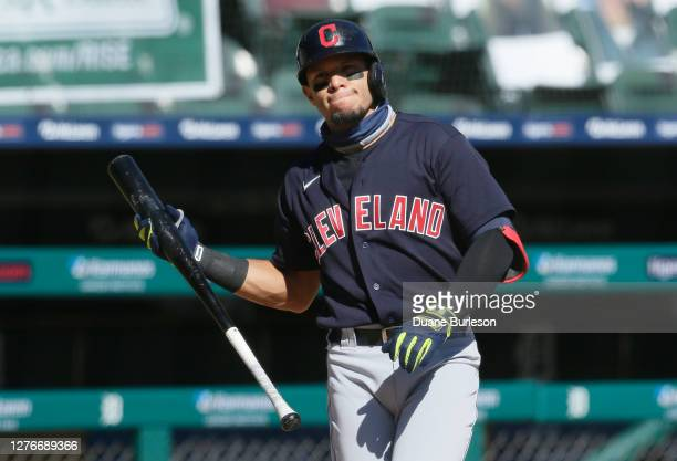 Cesar Hernandez of the Cleveland Indians prepares to bat against the Detroit Tigers at Comerica Park on September 20 in Detroit Michigan