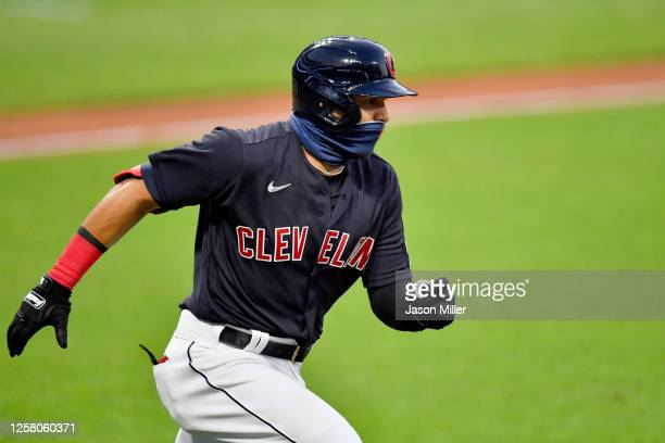 Cesar Hernandez of the Cleveland Indians runs out an RBI double during the fifth inning of the Opening Day game against the Kansas City Royals at...