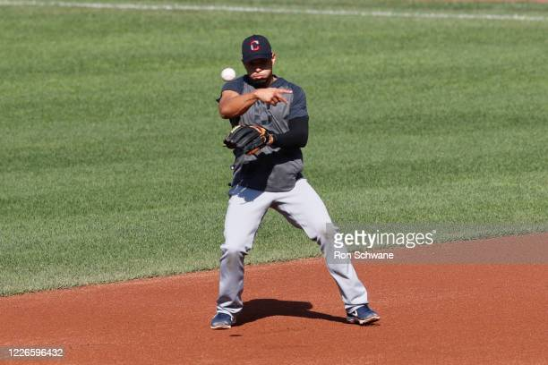 Cesar Hernandez of the Cleveland Indians warms up before an intrasquad game during summer workouts at Progressive Field on July 12 2020 in Cleveland...