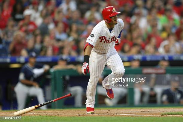 Cesar Hernandez of the Philadelphia Phillies at bat against the San Diego Padres at Citizens Bank Park on Friday, August 16, 2019 in Philadelphia,...