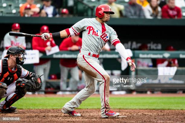 Cesar Hernandez of the Philadelphia Phillies at bat during the ninth inning against the Baltimore Orioles at Oriole Park at Camden Yards on May 16...