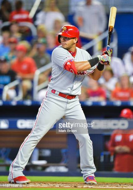 Cesar Hernandez of the Philadelphia Phillies at bat in the second inning against the Miami Marlins at Marlins Park on April 14 2019 in Miami Florida