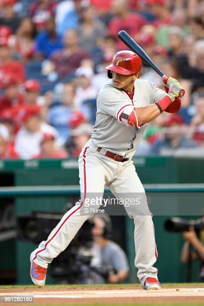 Cesar Hernandez of the Philadelphia Phillies bats against the Washington Nationals at Nationals Park on June 24 2018 in Washington DC