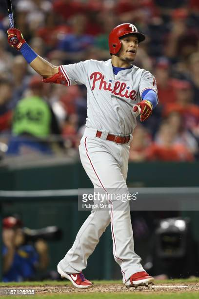 Cesar Hernandez of the Philadelphia Phillies bats against the Washington Nationals in game two of a double header at Nationals Park on June 19, 2019...