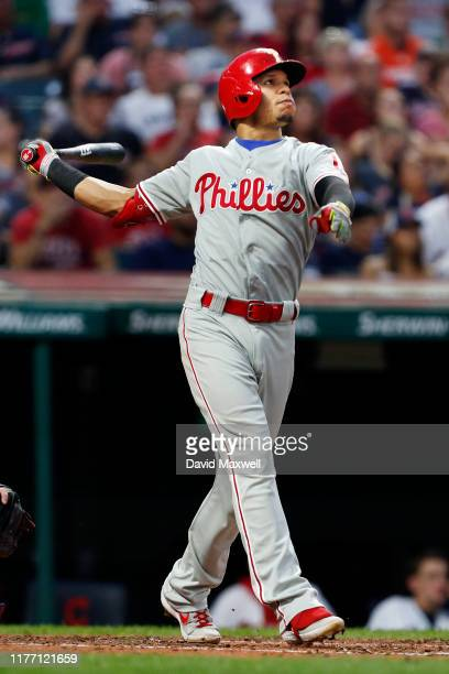 Cesar Hernandez of the Philadelphia Phillies bats against the Cleveland Indians in the third inning at Progressive Field on September 22 2019 in...