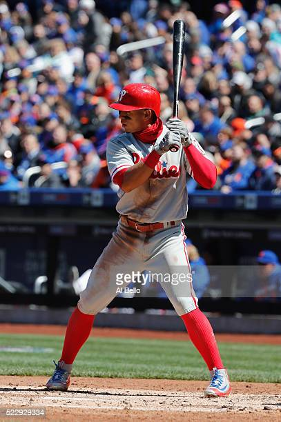 Cesar Hernandez of the Philadelphia Phillies bats against the New York Mets during their game at Citi Field on April 10 2016 in New York City