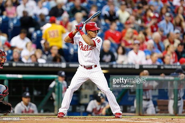 Cesar Hernandez of the Philadelphia Phillies bats during the game against the Atlanta Braves at Citizens Bank Park on September 6 2013 in...