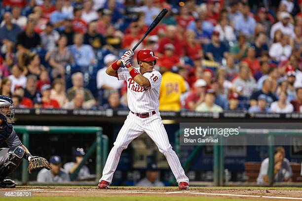 Cesar Hernandez of the Philadelphia Phillies bats during the game against the San Diego Padres at Citizens Bank Park on September 11 2013 in...