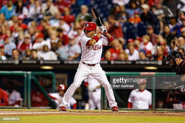 Cesar Hernandez of the Philadelphia Phillies bats during the game against the Miami Marlins at Citizens Bank Park on September 18 2013 in...