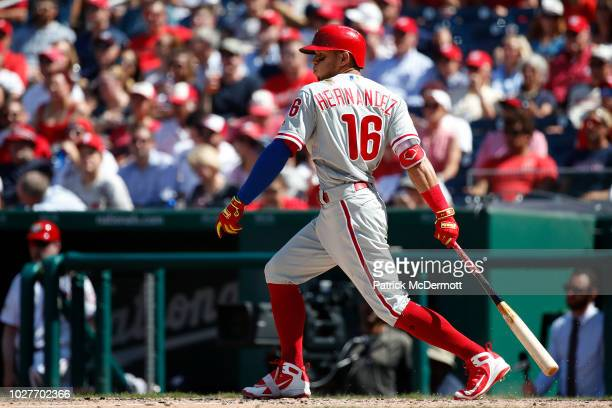 Cesar Hernandez of the Philadelphia Phillies bats in the eighth inning against the Washington Nationals at Nationals Park on August 23, 2018 in...