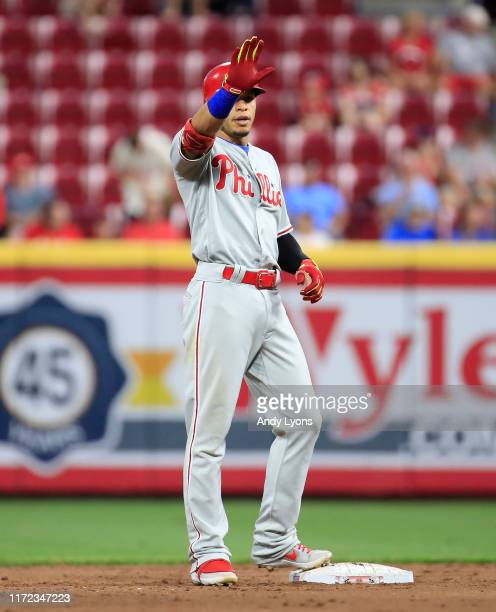 Cesar Hernandez of the Philadelphia Phillies celebrates after hitting a double in the 5th inning against the Cincinnati Reds at Great American Ball...