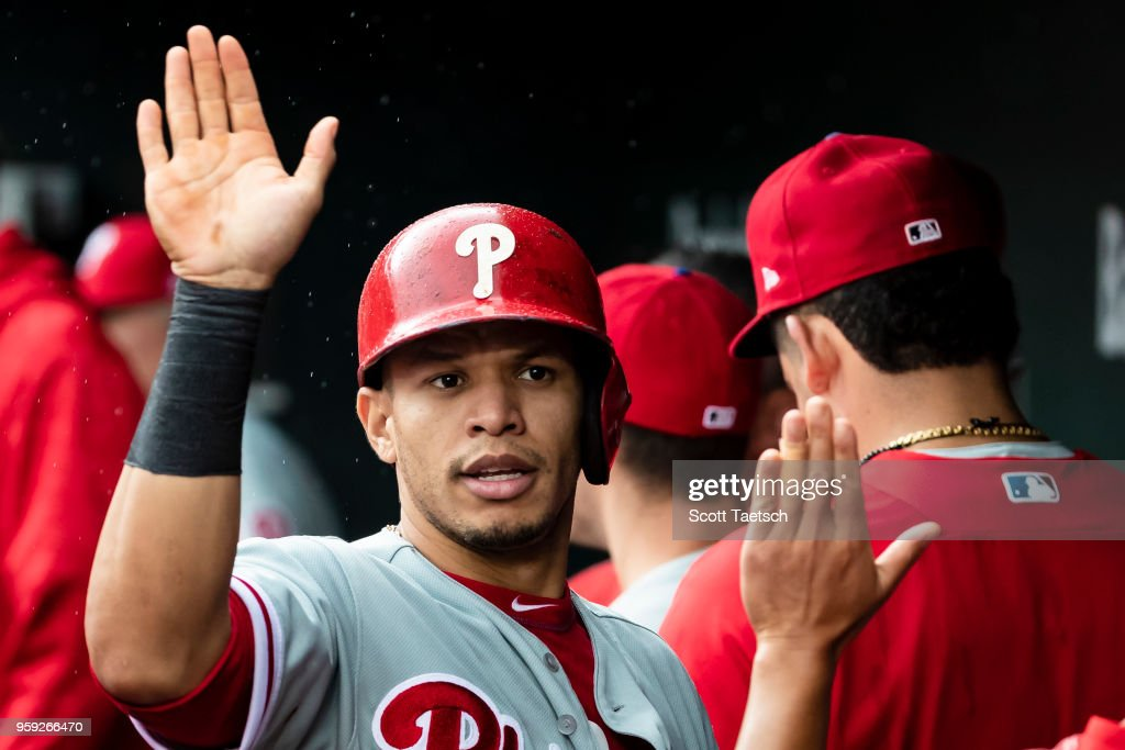 Cesar Hernandez #16 of the Philadelphia Phillies celebrates after scoring during the seventh inning against the Baltimore Orioles at Oriole Park at Camden Yards on May 16, 2018 in Baltimore, Maryland.